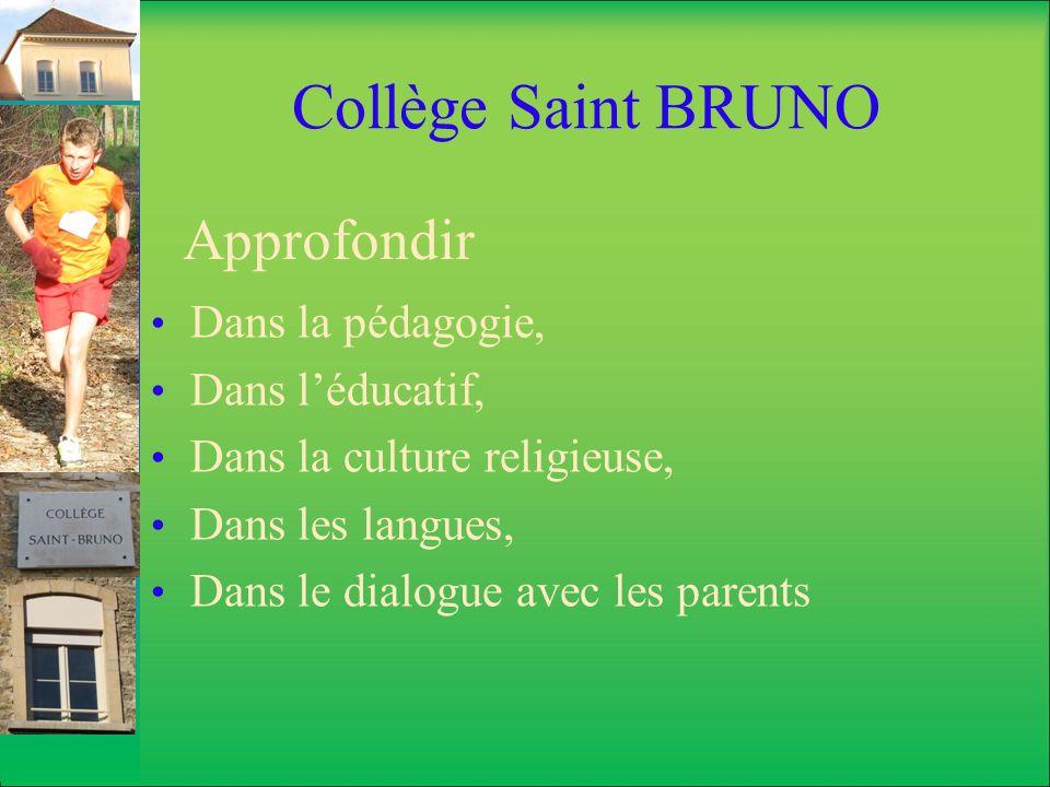 Collège Saint BRUNO Différencier les parcours Les sections européennes et bilangue, pour ceux qui sont plutôt littéraires.