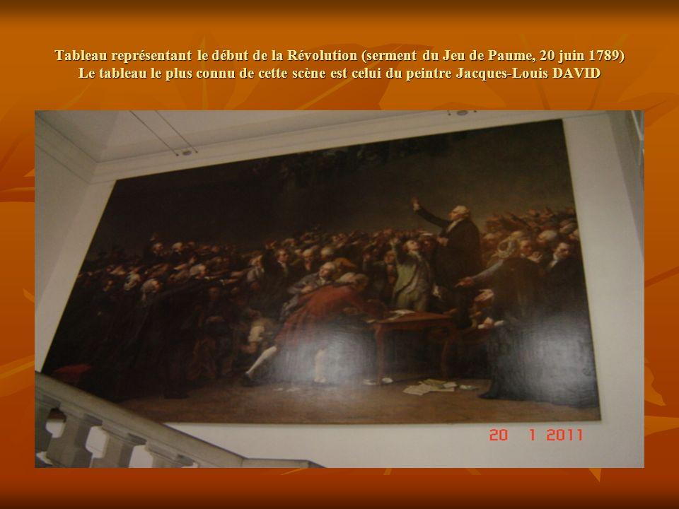 Tableau représentant le début de la Révolution (serment du Jeu de Paume, 20 juin 1789) Le tableau le plus connu de cette scène est celui du peintre Jacques-Louis DAVID