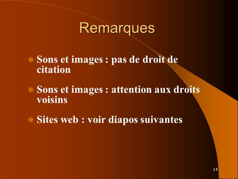 14 Remarques Sons et images : pas de droit de citation Sons et images : attention aux droits voisins Sites web : voir diapos suivantes