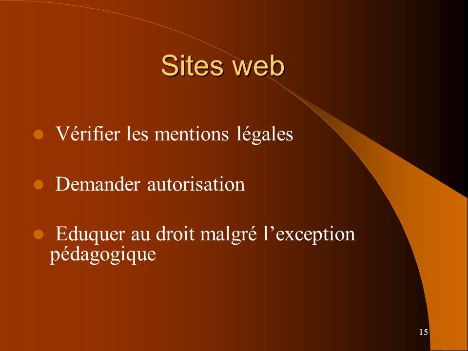 15 Sites web Vérifier les mentions légales Demander autorisation Eduquer au droit malgré lexception pédagogique