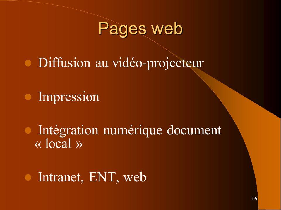 16 Pages web Diffusion au vidéo-projecteur Impression Intégration numérique document « local » Intranet, ENT, web
