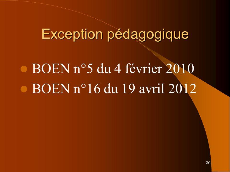 20 Exception pédagogique BOEN n°5 du 4 février 2010 BOEN n°16 du 19 avril 2012
