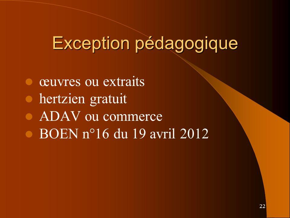 22 Exception pédagogique œuvres ou extraits hertzien gratuit ADAV ou commerce BOEN n°16 du 19 avril 2012