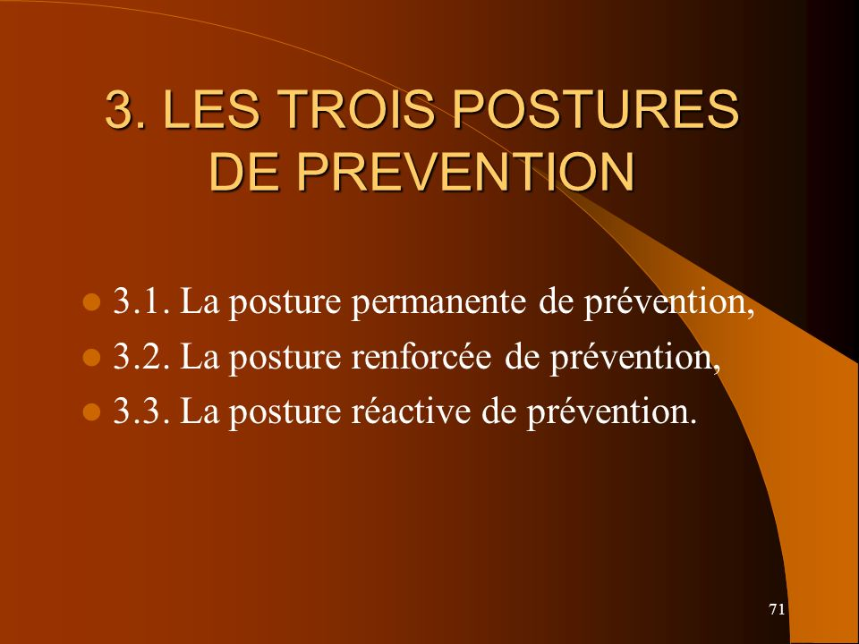 71 3.LES TROIS POSTURES DE PREVENTION 3.1. La posture permanente de prévention, 3.2.