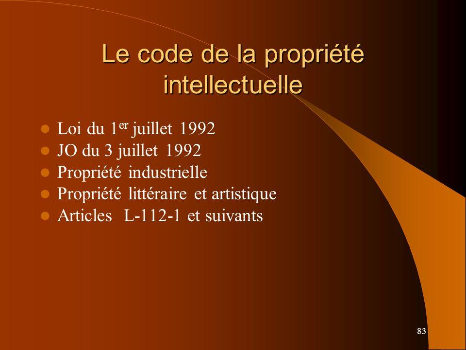 83 Le code de la propriété intellectuelle Loi du 1 er juillet 1992 JO du 3 juillet 1992 Propriété industrielle Propriété littéraire et artistique Articles L-112-1 et suivants