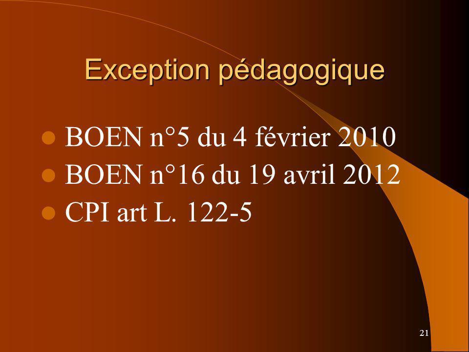 21 Exception pédagogique BOEN n°5 du 4 février 2010 BOEN n°16 du 19 avril 2012 CPI art L. 122-5