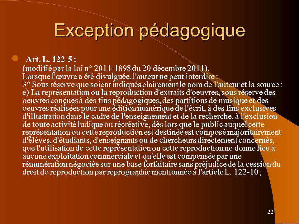 22 Exception pédagogique Art. L. 122-5 : (modifié par la loi n° 2011-1898 du 20 décembre 2011). Lorsque l'œuvre a été divulguée, l'auteur ne peut inte