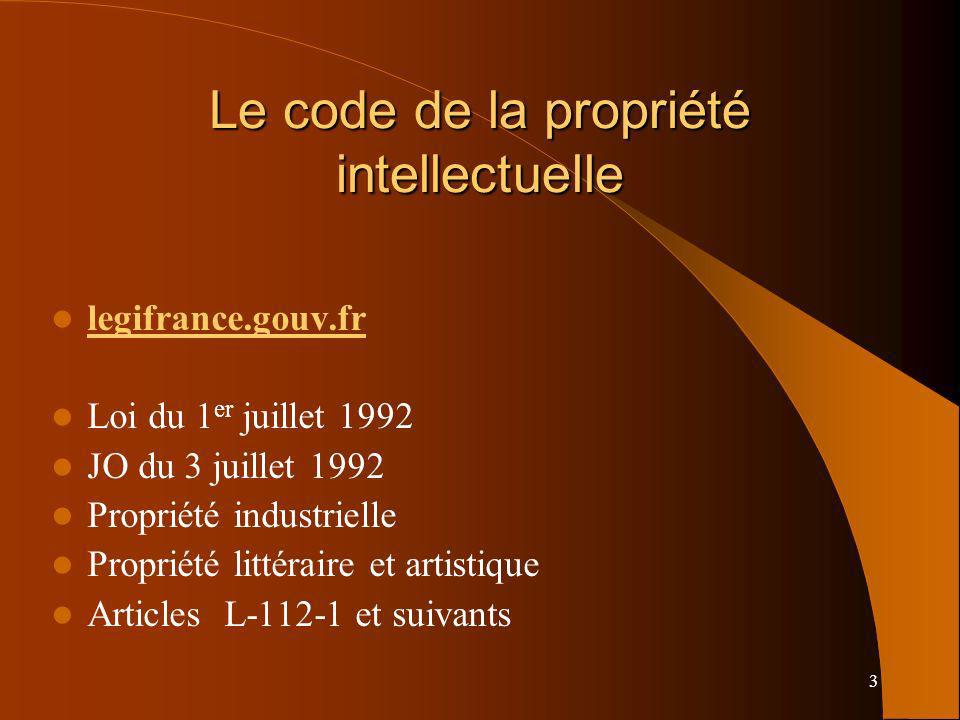 3 Le code de la propriété intellectuelle legifrance.gouv.fr Loi du 1 er juillet 1992 JO du 3 juillet 1992 Propriété industrielle Propriété littéraire