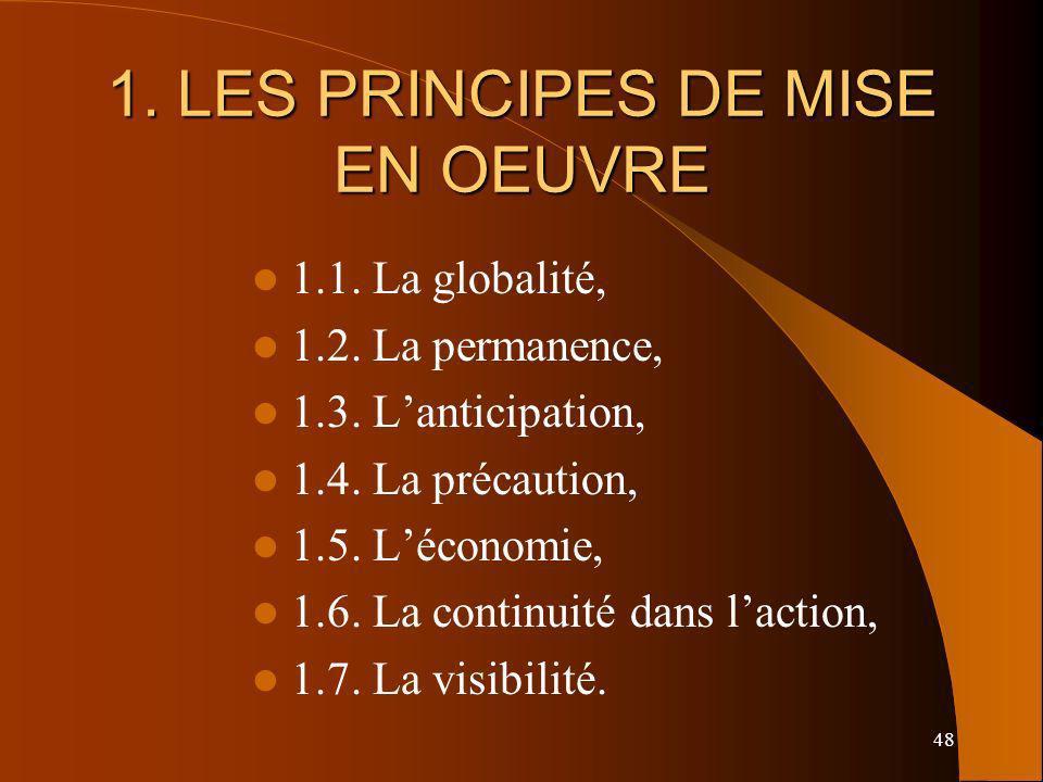 48 1. LES PRINCIPES DE MISE EN OEUVRE 1.1. La globalité, 1.2. La permanence, 1.3. Lanticipation, 1.4. La précaution, 1.5. Léconomie, 1.6. La continuit
