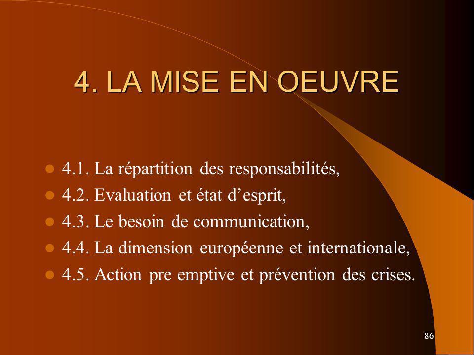 86 4. LA MISE EN OEUVRE 4.1. La répartition des responsabilités, 4.2. Evaluation et état desprit, 4.3. Le besoin de communication, 4.4. La dimension e