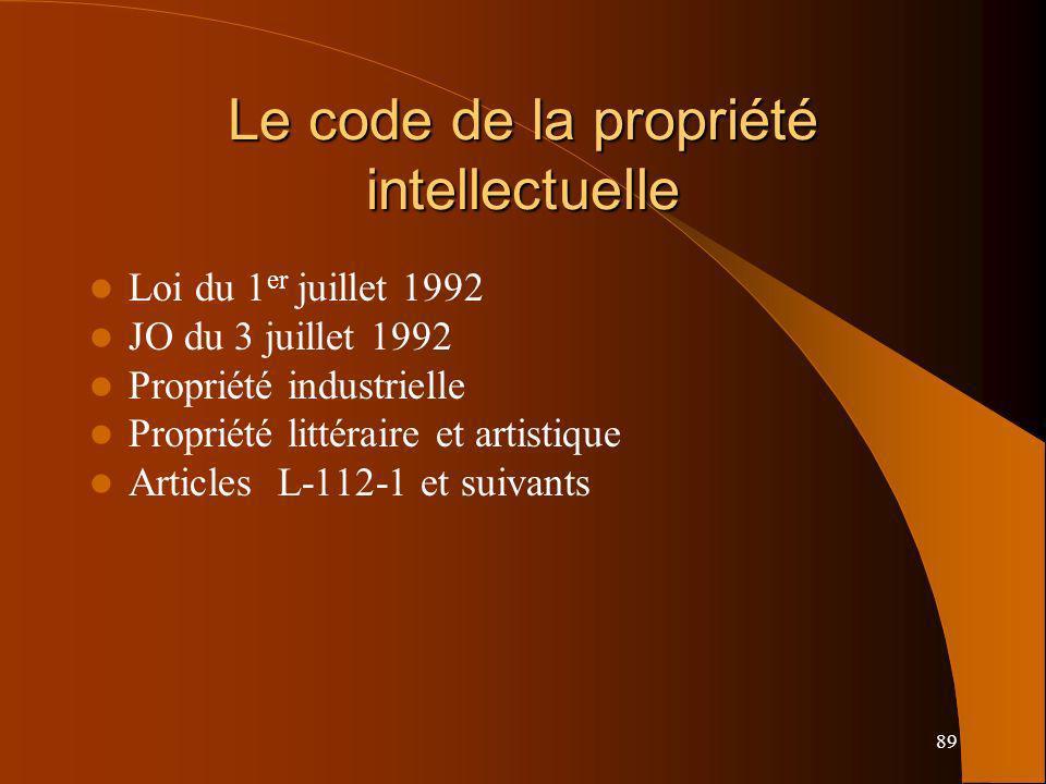 89 Le code de la propriété intellectuelle Loi du 1 er juillet 1992 JO du 3 juillet 1992 Propriété industrielle Propriété littéraire et artistique Articles L-112-1 et suivants
