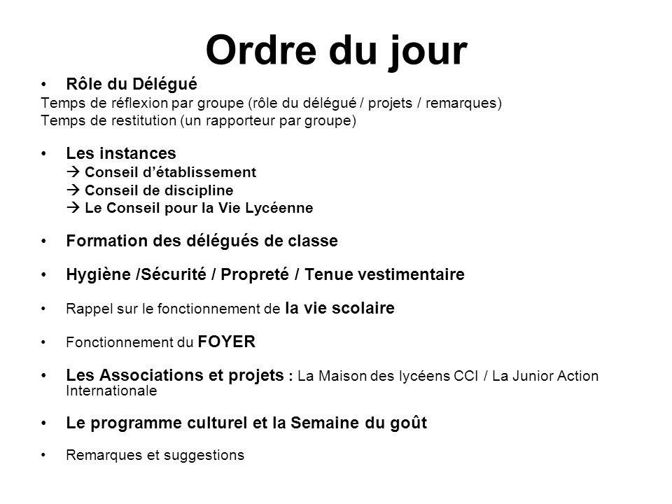 Ordre du jour Rôle du Délégué Temps de réflexion par groupe (rôle du délégué / projets / remarques) Temps de restitution (un rapporteur par groupe) Le