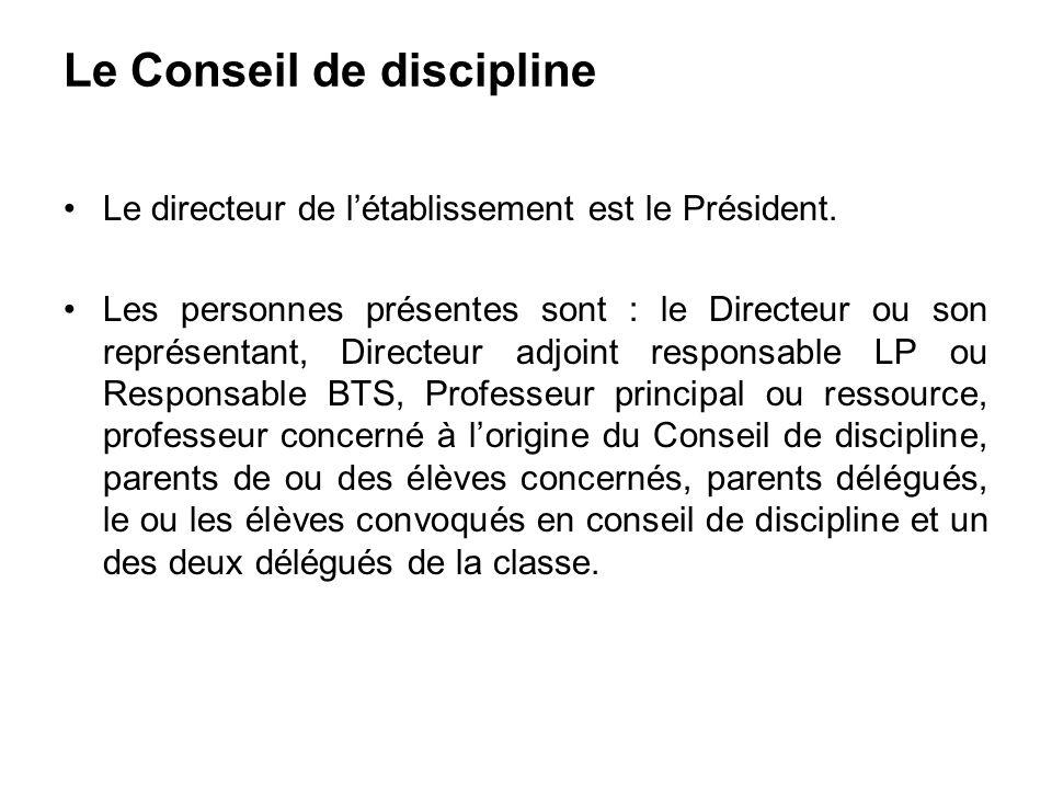 Le Conseil de discipline Le directeur de létablissement est le Président. Les personnes présentes sont : le Directeur ou son représentant, Directeur a