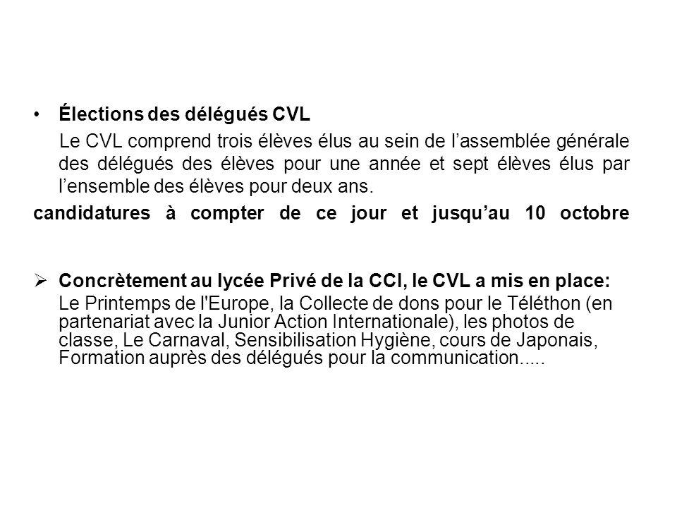 Élections des délégués CVL Le CVL comprend trois élèves élus au sein de lassemblée générale des délégués des élèves pour une année et sept élèves élus