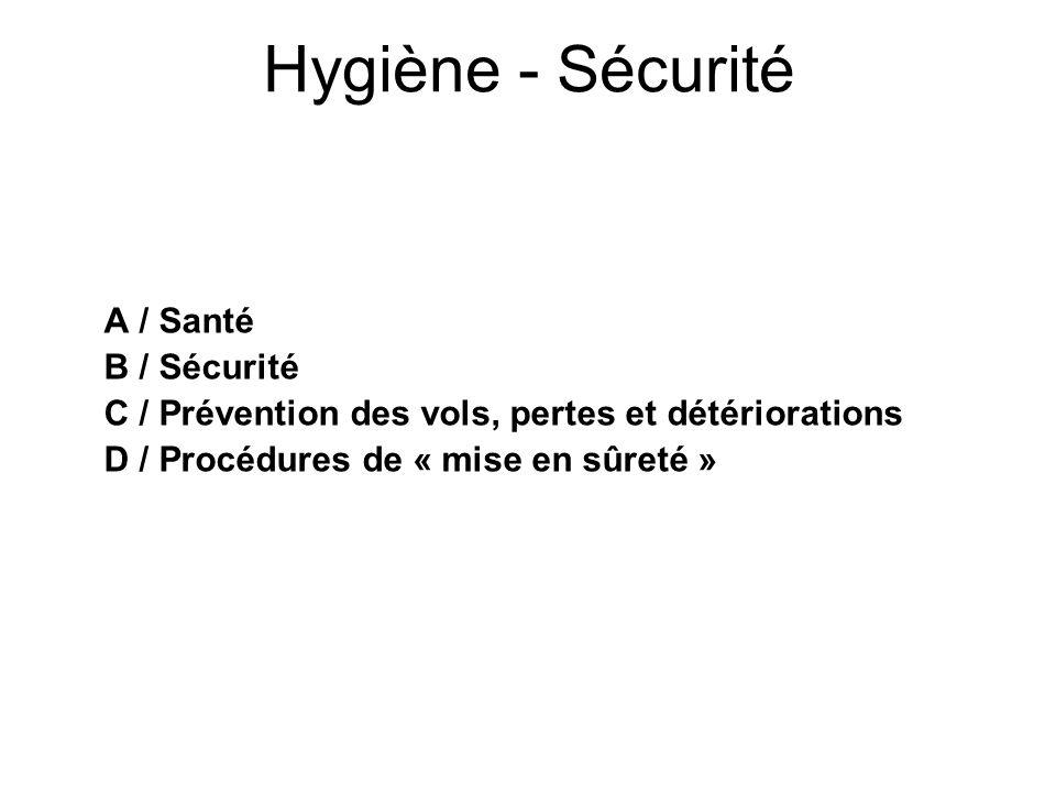 Hygiène - Sécurité A / Santé B / Sécurité C / Prévention des vols, pertes et détériorations D / Procédures de « mise en sûreté »