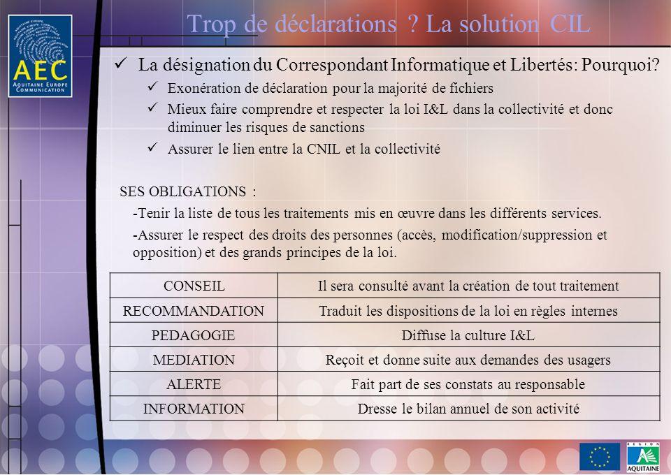 Trop de déclarations ? La solution CIL La désignation du Correspondant Informatique et Libertés: Pourquoi? Exonération de déclaration pour la majorité