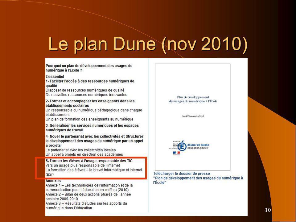 10 Le plan Dune (nov 2010)