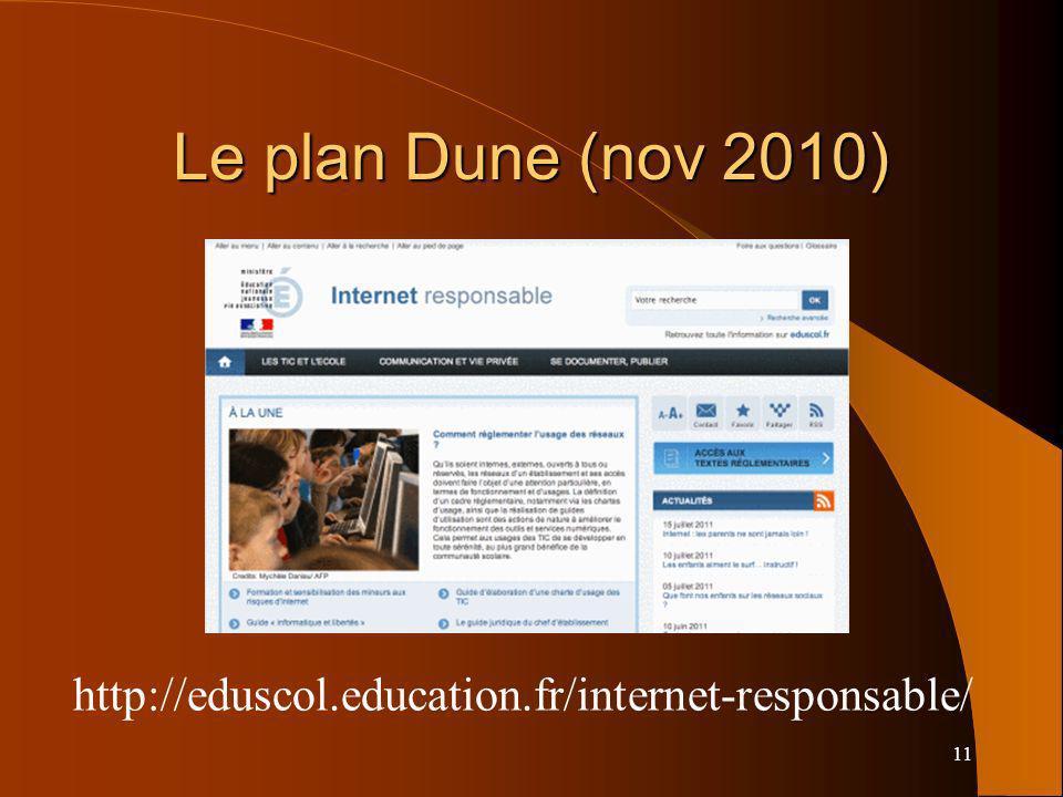 11 Le plan Dune (nov 2010) http://eduscol.education.fr/internet-responsable/
