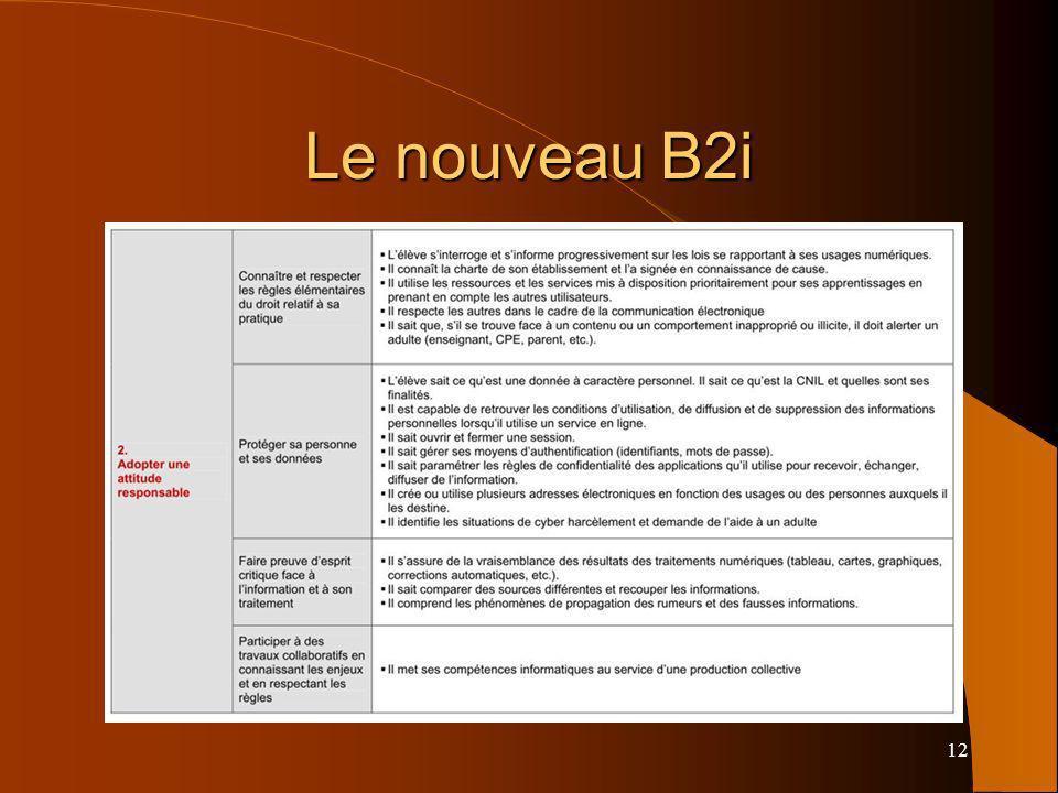 12 Le nouveau B2i