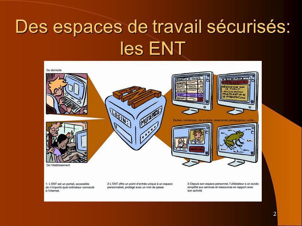 2 Des espaces de travail sécurisés: les ENT