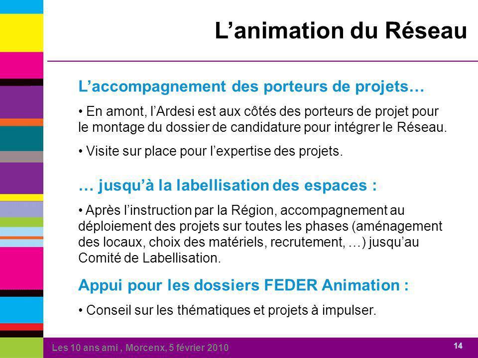 Les 10 ans ami, Morcenx, 5 février 2010 14 Lanimation du Réseau Laccompagnement des porteurs de projets… En amont, lArdesi est aux côtés des porteurs de projet pour le montage du dossier de candidature pour intégrer le Réseau.