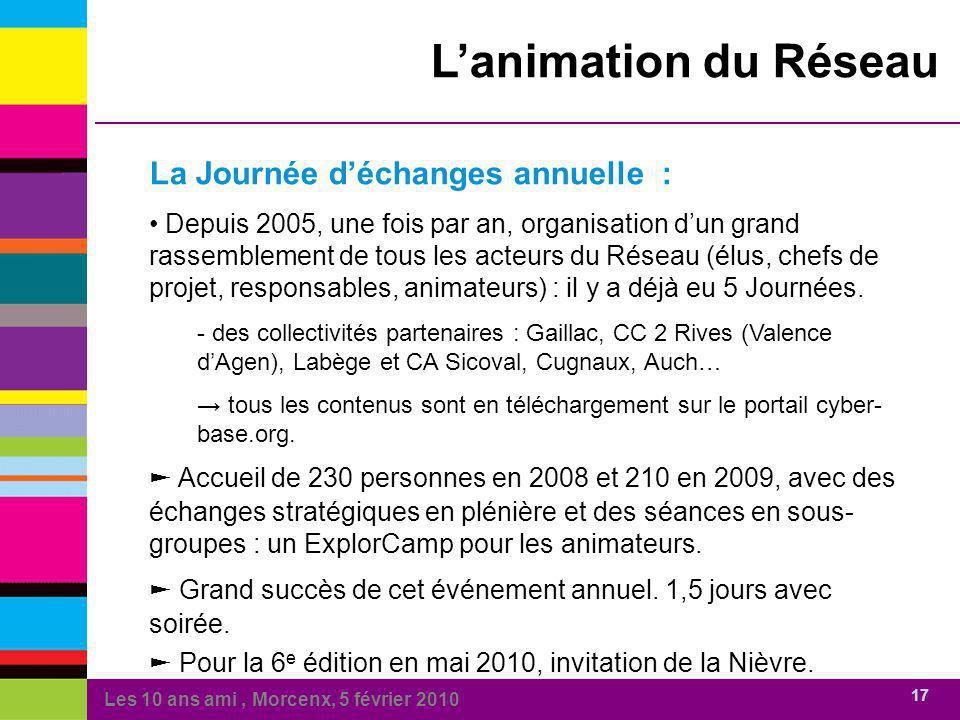 Les 10 ans ami, Morcenx, 5 février 2010 17 Lanimation du Réseau La Journée déchanges annuelle : Depuis 2005, une fois par an, organisation dun grand r