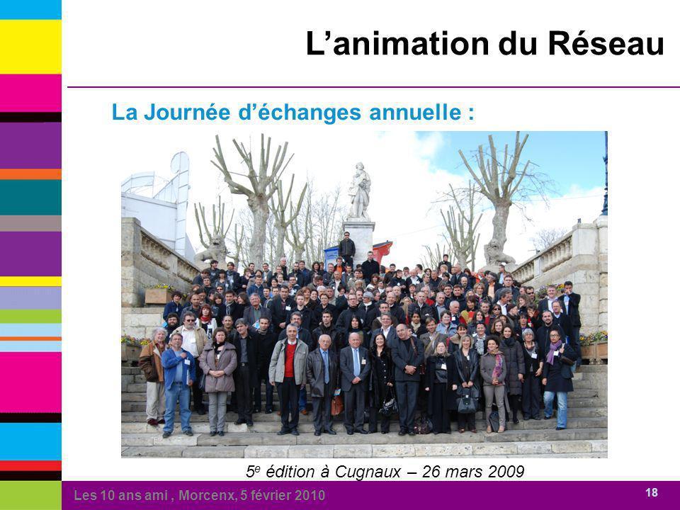 Les 10 ans ami, Morcenx, 5 février 2010 18 Lanimation du Réseau La Journée déchanges annuelle : 5 e édition à Cugnaux – 26 mars 2009