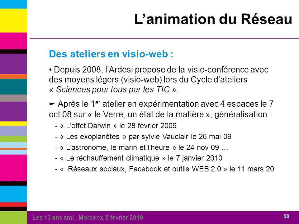 Les 10 ans ami, Morcenx, 5 février 2010 20 Lanimation du Réseau Des ateliers en visio-web : Depuis 2008, lArdesi propose de la visio-conférence avec des moyens légers (visio-web) lors du Cycle dateliers « Sciences pour tous par les TIC ».