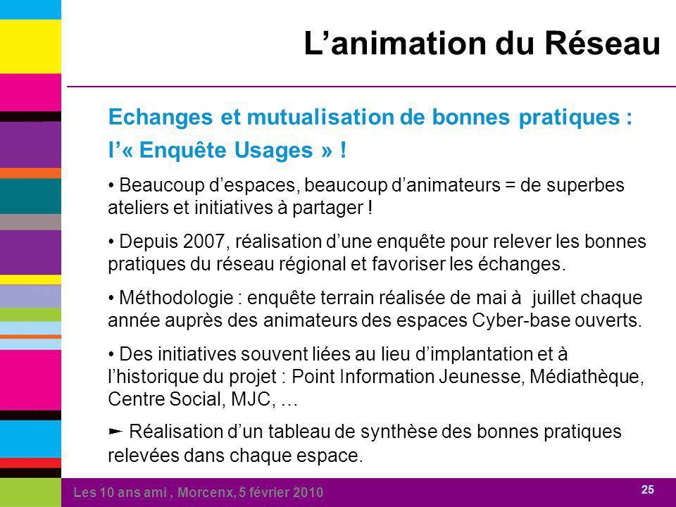 Les 10 ans ami, Morcenx, 5 février 2010 25 Lanimation du Réseau Echanges et mutualisation de bonnes pratiques : l« Enquête Usages » .