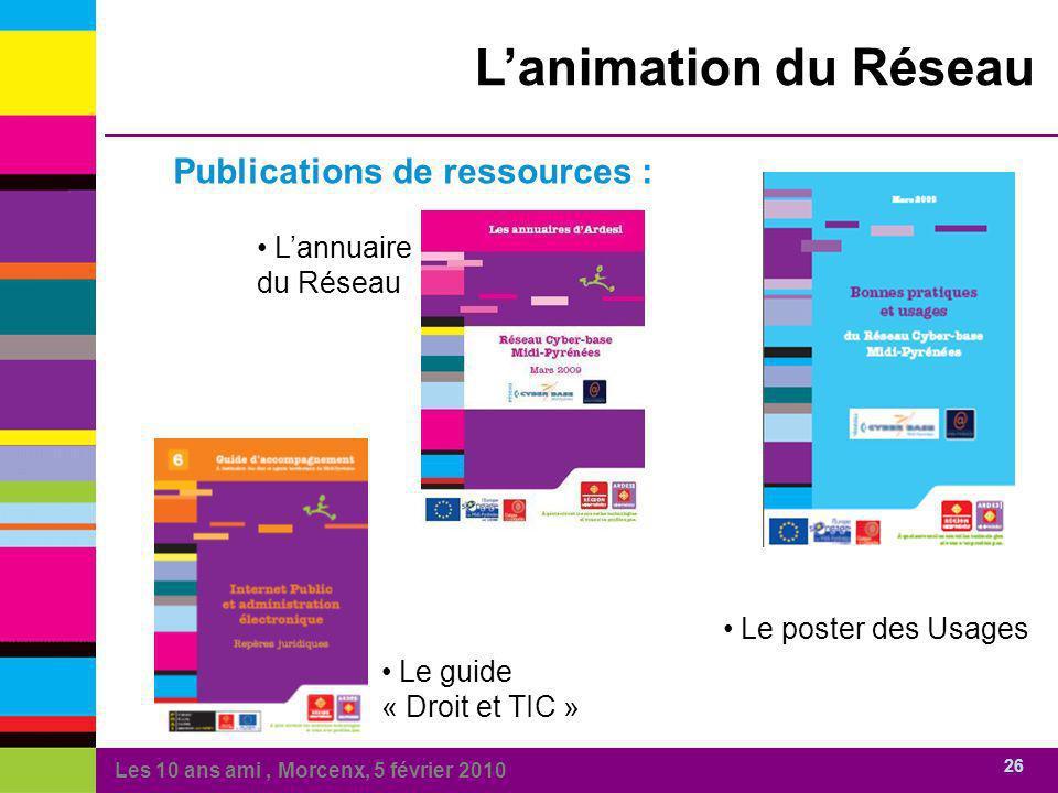 Les 10 ans ami, Morcenx, 5 février 2010 26 Lanimation du Réseau Publications de ressources : Lannuaire du Réseau Le guide « Droit et TIC » Le poster d