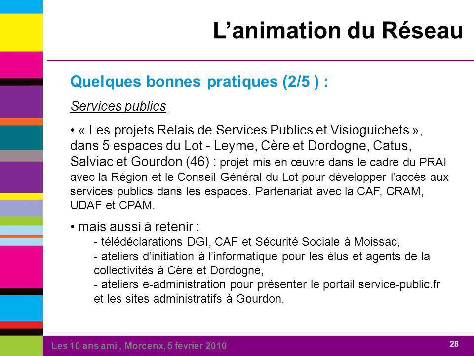 Les 10 ans ami, Morcenx, 5 février 2010 28 Lanimation du Réseau Quelques bonnes pratiques (2/5 ) : Services publics « Les projets Relais de Services P