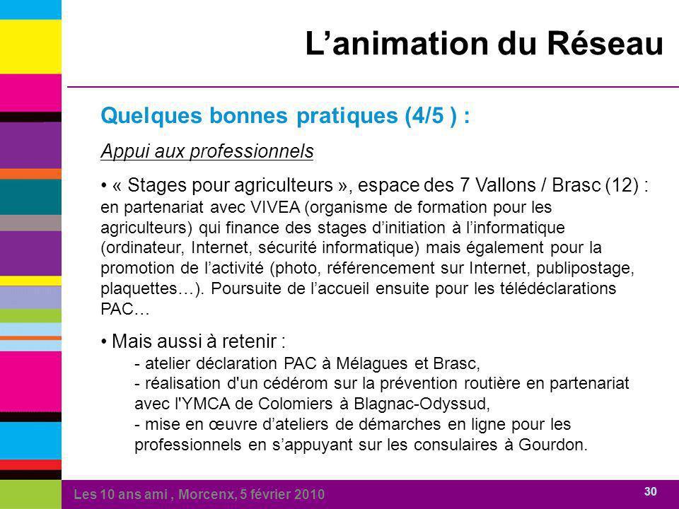 Les 10 ans ami, Morcenx, 5 février 2010 30 Lanimation du Réseau Quelques bonnes pratiques (4/5 ) : Appui aux professionnels « Stages pour agriculteurs
