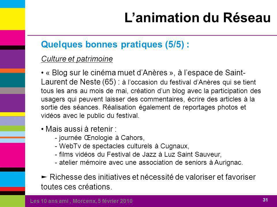 Les 10 ans ami, Morcenx, 5 février 2010 31 Lanimation du Réseau Quelques bonnes pratiques (5/5) : Culture et patrimoine « Blog sur le cinéma muet dAnè