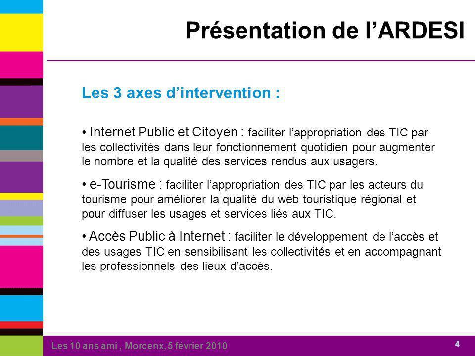 Les 10 ans ami, Morcenx, 5 février 2010 4 Présentation de lARDESI Les 3 axes dintervention : Internet Public et Citoyen : faciliter lappropriation des