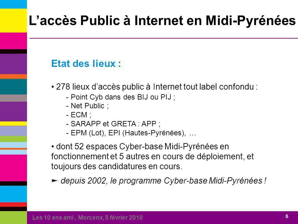 Les 10 ans ami, Morcenx, 5 février 2010 6 Laccès Public à Internet en Midi-Pyrénées Etat des lieux : 278 lieux daccès public à Internet tout label confondu : - Point Cyb dans des BIJ ou PIJ ; Point Cyb dans des BIJ ou PIJ ; - Net Public ; Net Public ; - ECM ; ECM ; - SARAPP et GRETA : APP ; SARAPP et GRETA : APP ; - EPM (Lot), EPI (Hautes-Pyrénées), … EPM (Lot), EPI (Hautes-Pyrénées), … dont 52 espaces Cyber-base Midi-Pyrénées en fonctionnement et 5 autres en cours de déploiement, et toujours des candidatures en cours.