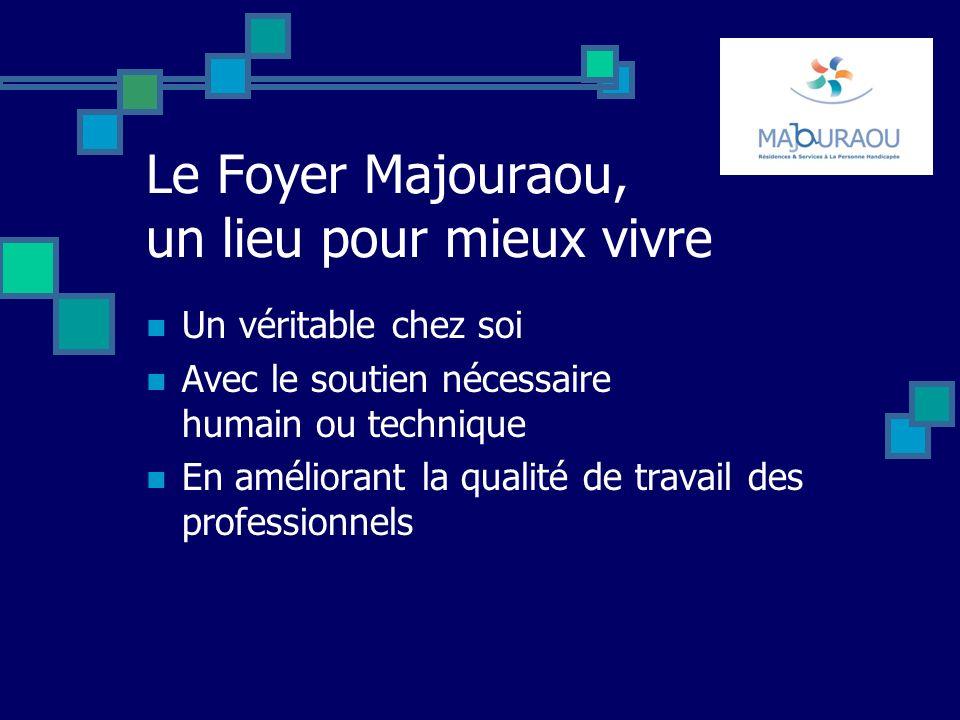 Le Foyer Majouraou, un lieu pour mieux vivre Un véritable chez soi Avec le soutien nécessaire humain ou technique En améliorant la qualité de travail des professionnels