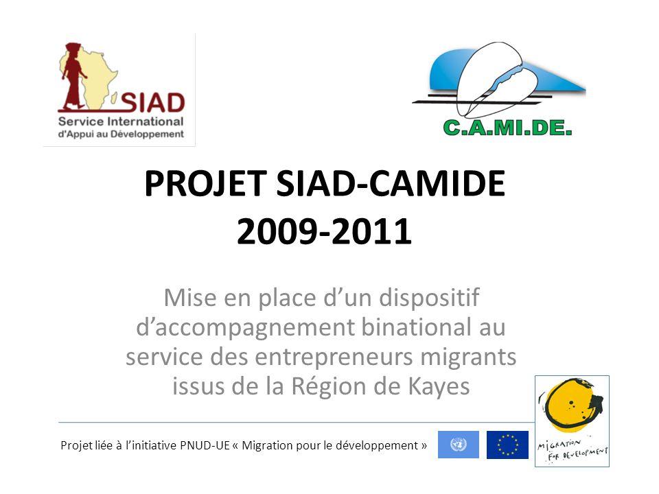 PROJET SIAD-CAMIDE 2009-2011 Mise en place dun dispositif daccompagnement binational au service des entrepreneurs migrants issus de la Région de Kayes Projet liée à linitiative PNUD-UE « Migration pour le développement »