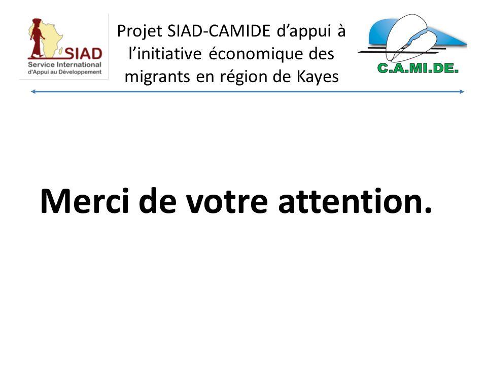 Projet SIAD-CAMIDE dappui à linitiative économique des migrants en région de Kayes Merci de votre attention.