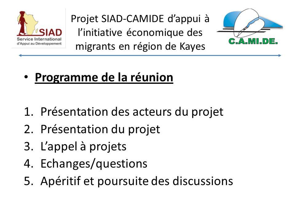 Projet SIAD-CAMIDE dappui à linitiative économique des migrants en région de Kayes Programme de la réunion 1.Présentation des acteurs du projet 2.Présentation du projet 3.Lappel à projets 4.Echanges/questions 5.Apéritif et poursuite des discussions