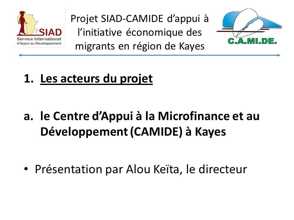 Projet SIAD-CAMIDE dappui à linitiative économique des migrants en région de Kayes 1.Les acteurs du projet a.le Centre dAppui à la Microfinance et au Développement (CAMIDE) à Kayes Présentation par Alou Keïta, le directeur