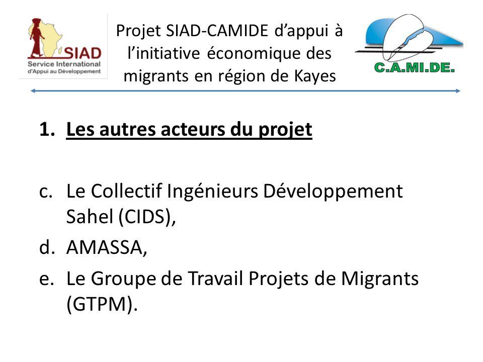 Projet SIAD-CAMIDE dappui à linitiative économique des migrants en région de Kayes 1.Les autres acteurs du projet c.Le Collectif Ingénieurs Développement Sahel (CIDS), d.AMASSA, e.Le Groupe de Travail Projets de Migrants (GTPM).