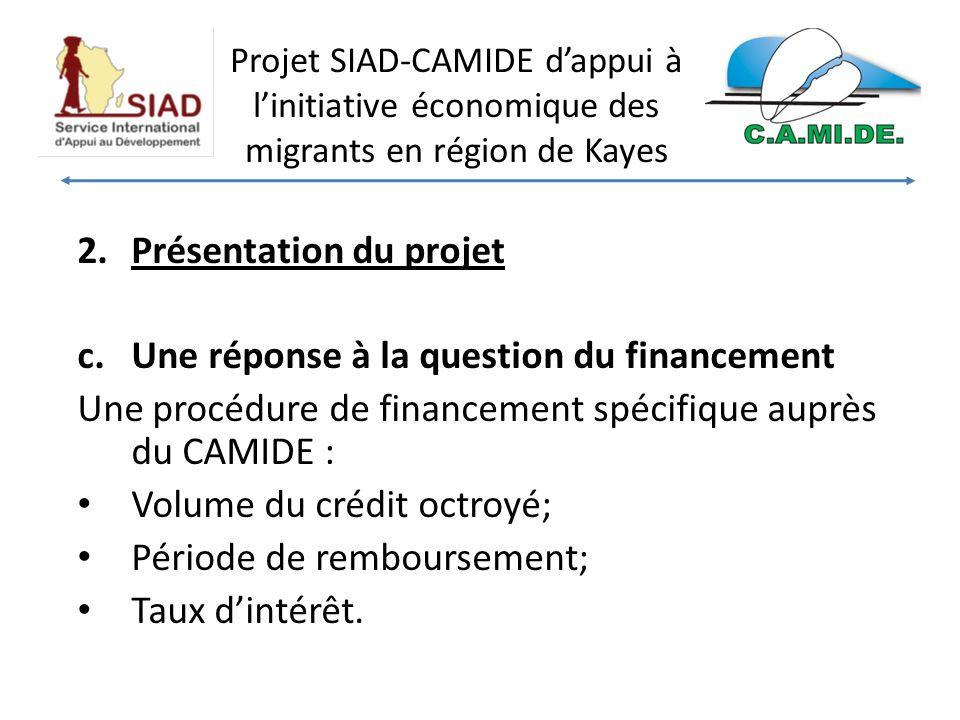 Projet SIAD-CAMIDE dappui à linitiative économique des migrants en région de Kayes 2.Présentation du projet c.Une réponse à la question du financement Une procédure de financement spécifique auprès du CAMIDE : Volume du crédit octroyé; Période de remboursement; Taux dintérêt.