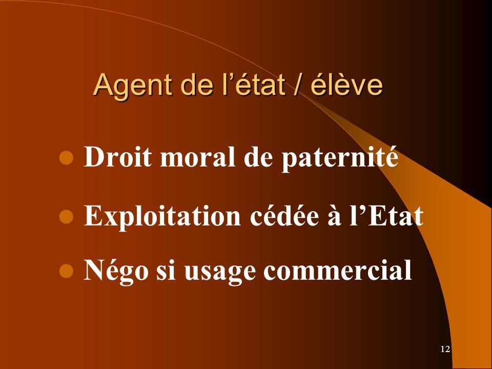 12 Agent de létat / élève Droit moral de paternité Exploitation cédée à lEtat Négo si usage commercial