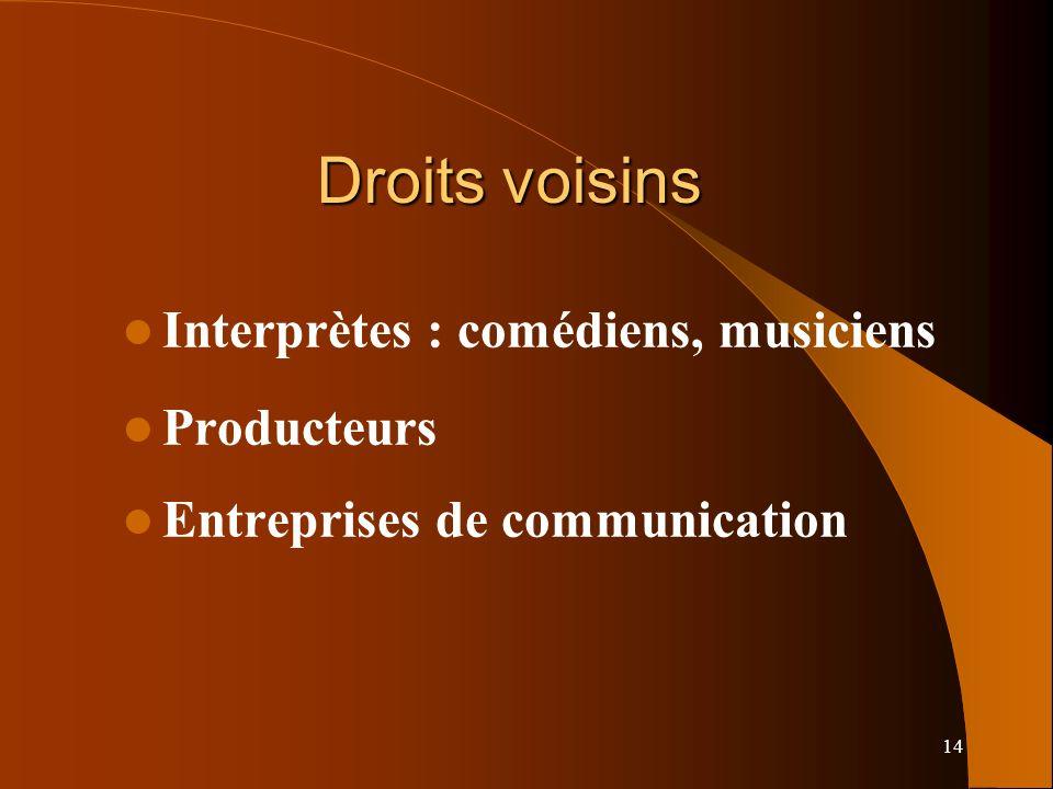 14 Droits voisins Interprètes : comédiens, musiciens Producteurs Entreprises de communication