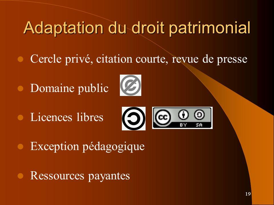19 Adaptation du droit patrimonial Cercle privé, citation courte, revue de presse Domaine public Licences libres Exception pédagogique Ressources payantes