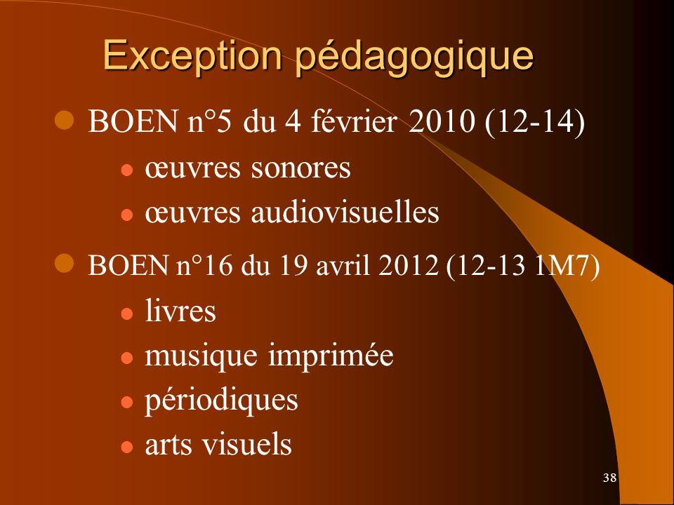 38 Exception pédagogique BOEN n°5 du 4 février 2010 (12-14) œuvres sonores œuvres audiovisuelles BOEN n°16 du 19 avril 2012 (12-13 1M7) livres musique imprimée périodiques arts visuels