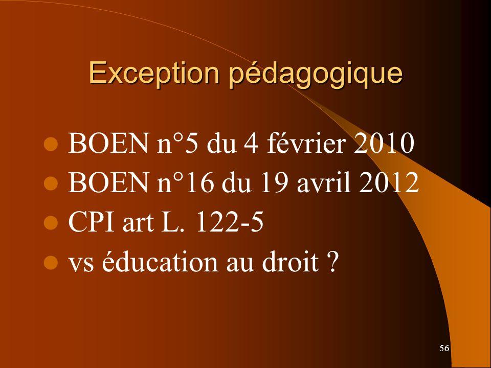 56 Exception pédagogique BOEN n°5 du 4 février 2010 BOEN n°16 du 19 avril 2012 CPI art L.