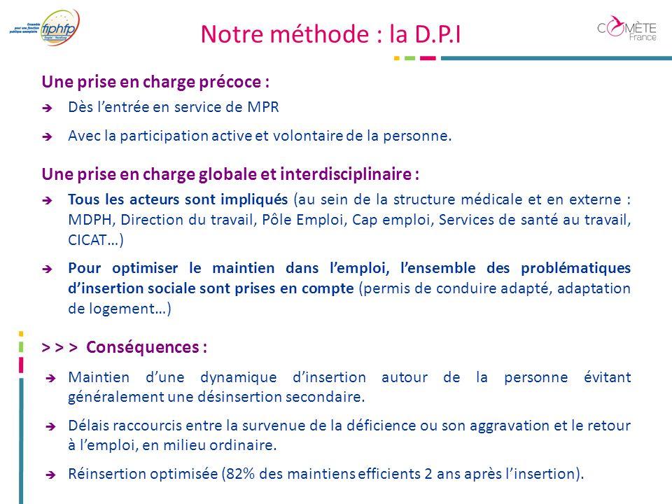 Notre méthode : la D.P.I Une prise en charge précoce : Dès lentrée en service de MPR Avec la participation active et volontaire de la personne.