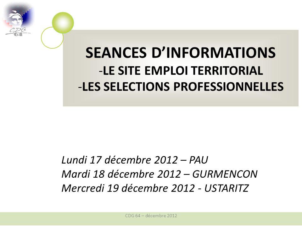 PRESENTATION DU SITE EMPLOI TERRITORIAL (SET) LE NOUVEAU SITE DEDIE A LEMPLOI CDG 64 – décembre 2012