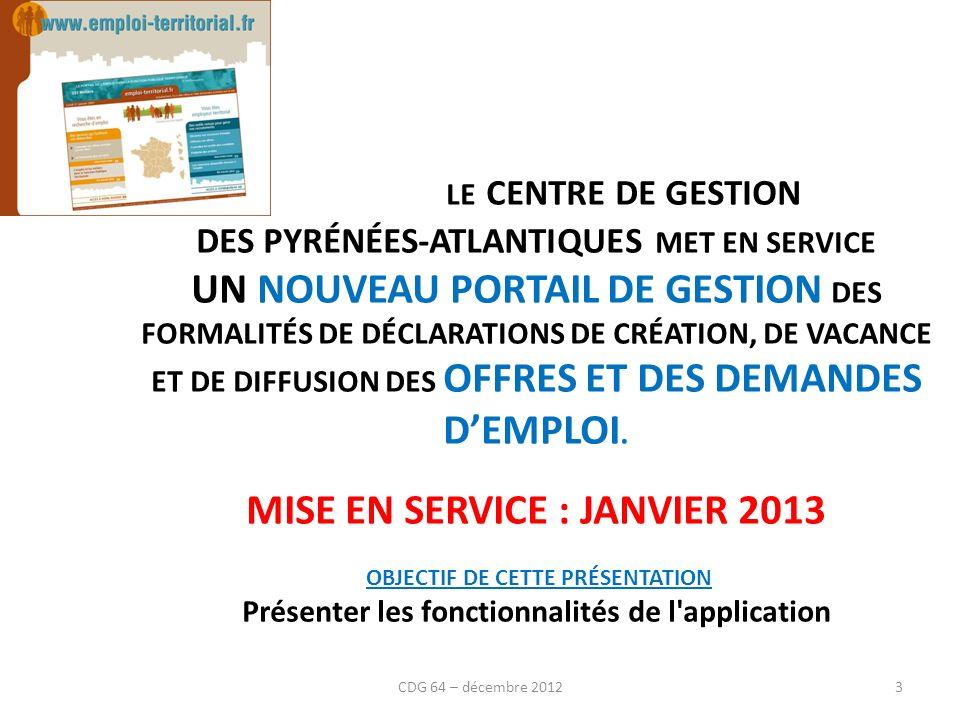 Les conditions d ancienneté (loi du 12 mars 2012) Loi du 12 mars 2012 CDG 64 – décembre 2012
